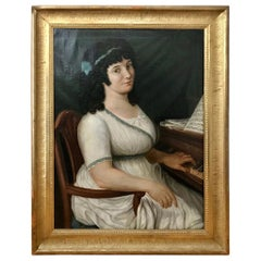 18th Century Italian Portrait of a Female Piano Player, Signed and Dated