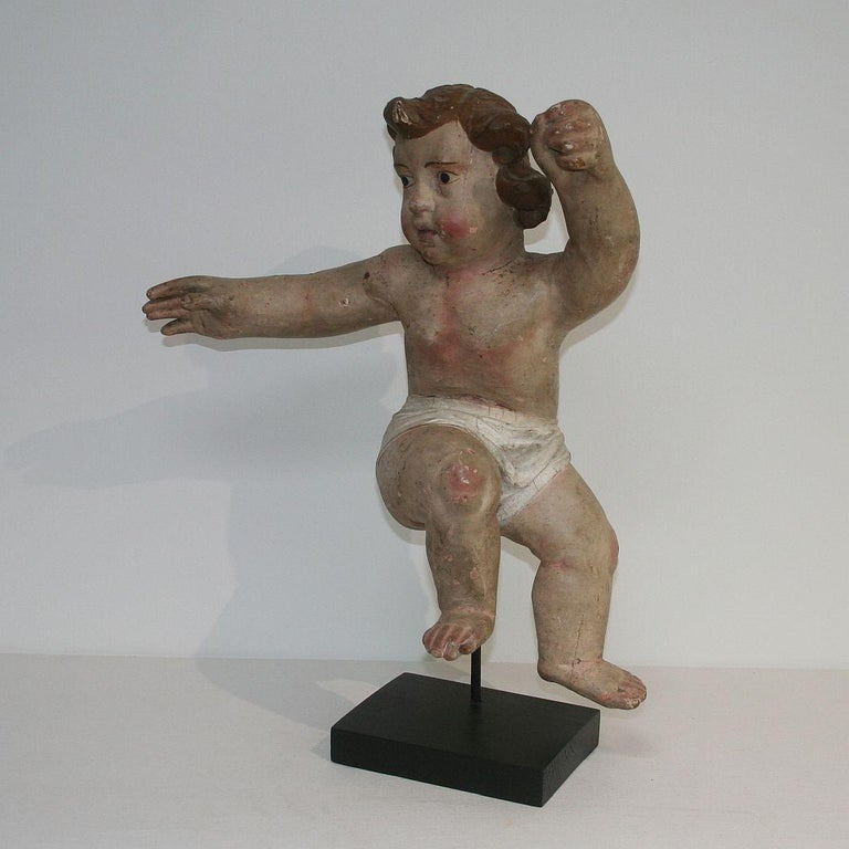 Painted 18th Century Italian Primitive Baroque Angel For Sale