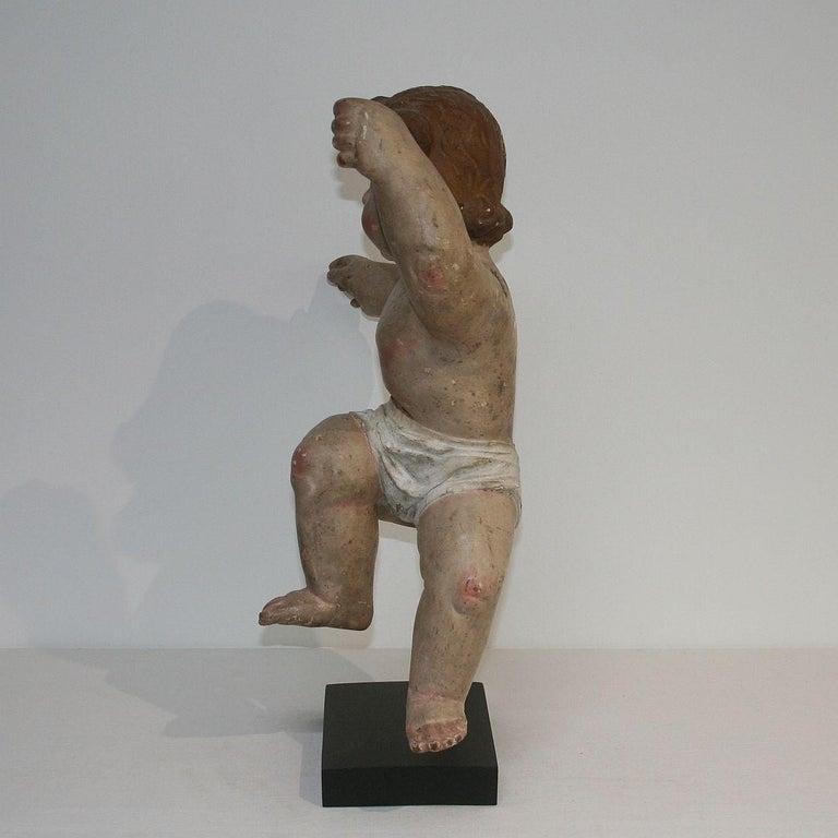 18th Century Italian Primitive Baroque Angel In Good Condition For Sale In Amsterdam, NL