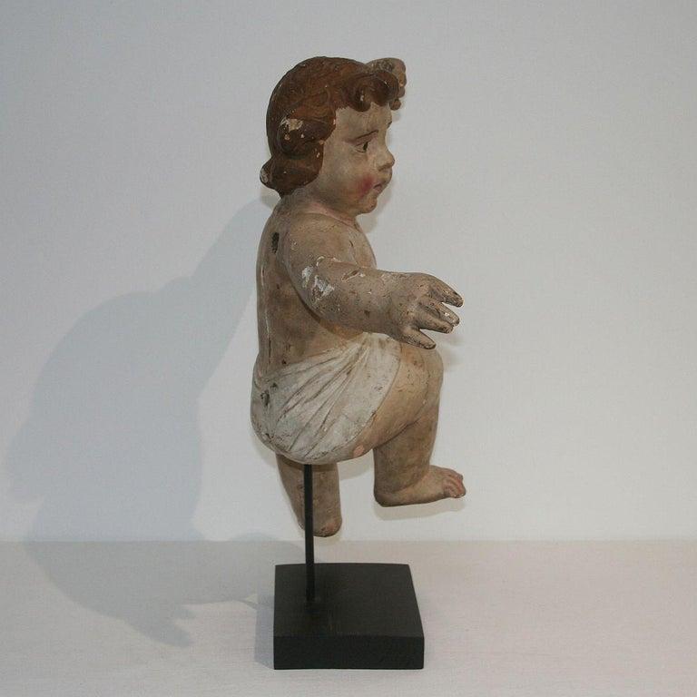 Wood 18th Century Italian Primitive Baroque Angel For Sale