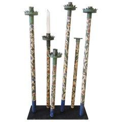 18th Century Italian Procession Candlesticks, Hand Painted, Very Rare Item