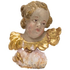 18th century Italian Putto on a Rose Quartz Crystal Cluster and Gold Leaf Shells