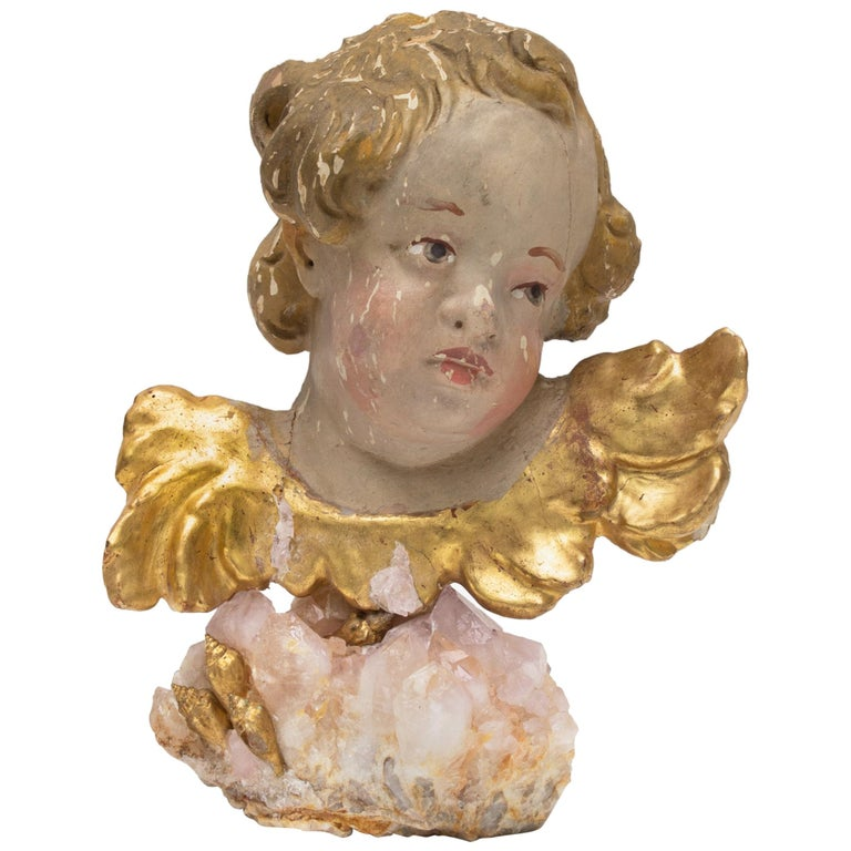 18th century Italian Putto on a Rose Quartz Crystal Cluster and Gold Leaf Shells For Sale