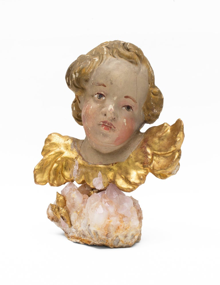 Hand-Carved 18th century Italian Putto on a Rose Quartz Crystal Cluster and Gold Leaf Shells For Sale