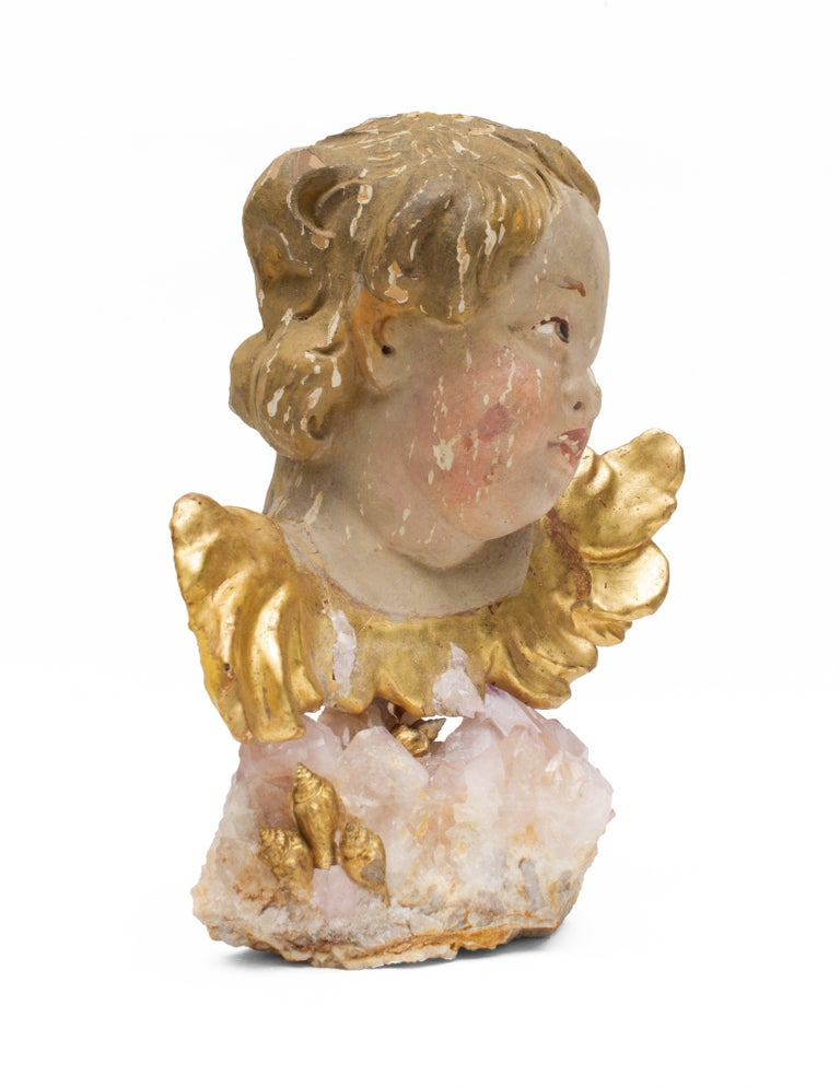 18th Century and Earlier 18th century Italian Putto on a Rose Quartz Crystal Cluster and Gold Leaf Shells For Sale