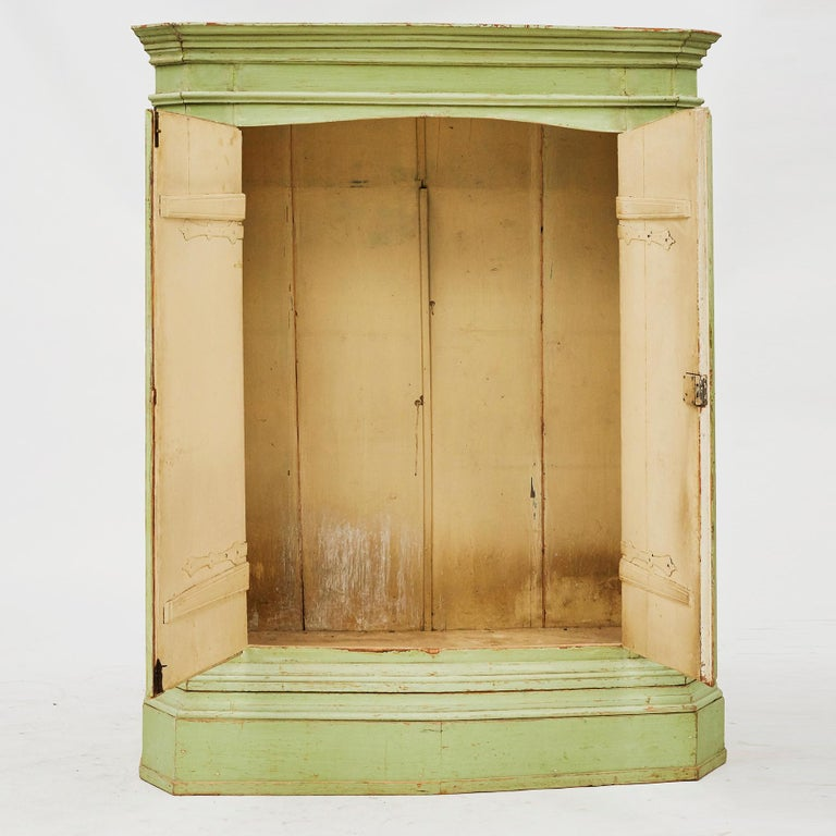 Painted 18th Century Italian Rococo Cabinet in Original Green Color For Sale