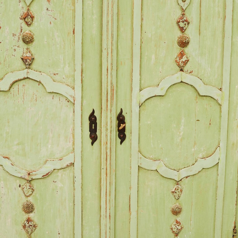Wood 18th Century Italian Rococo Cabinet in Original Green Color For Sale