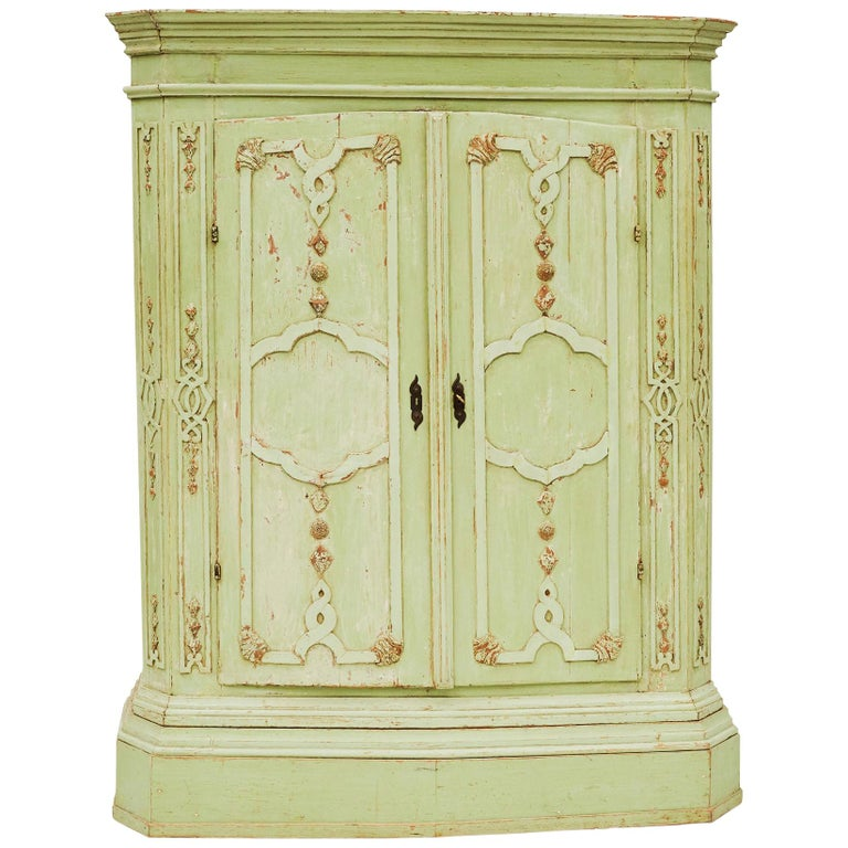 18th Century Italian Rococo Cabinet in Original Green Color For Sale