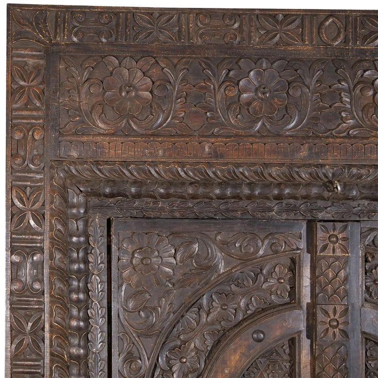Hand-Carved 18th Century Italian Rococo Carved Frieze Wall Panel, Antique Oakwood Door For Sale