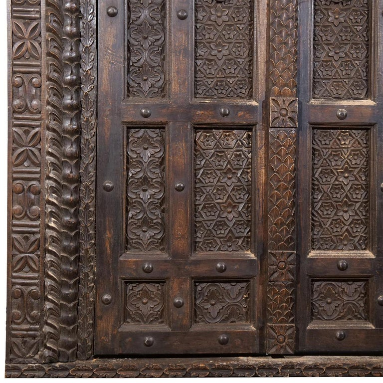 18th Century Italian Rococo Carved Frieze Wall Panel, Antique Oakwood Door For Sale 1