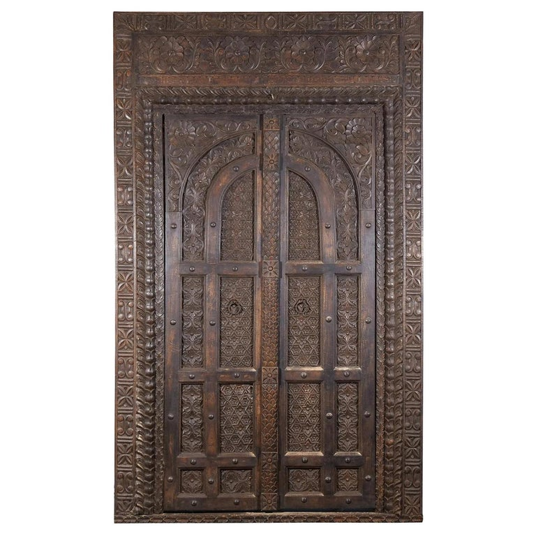 18th Century Italian Rococo Carved Frieze Wall Panel, Antique Oakwood Door For Sale