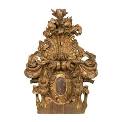 18th Century Italian Rococo Carved Wood Architectural Fragment Wall Decoration