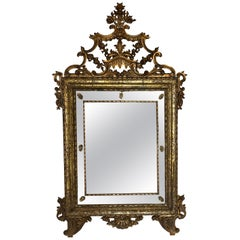 18th Century Italian Rococo Giltwood Mirror