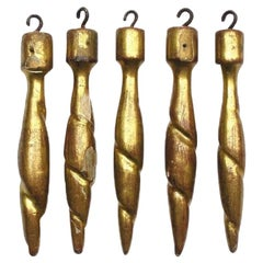 18th Century Italian Rococo Gold Leaf Hand Carved Tassels 'Group of 5'