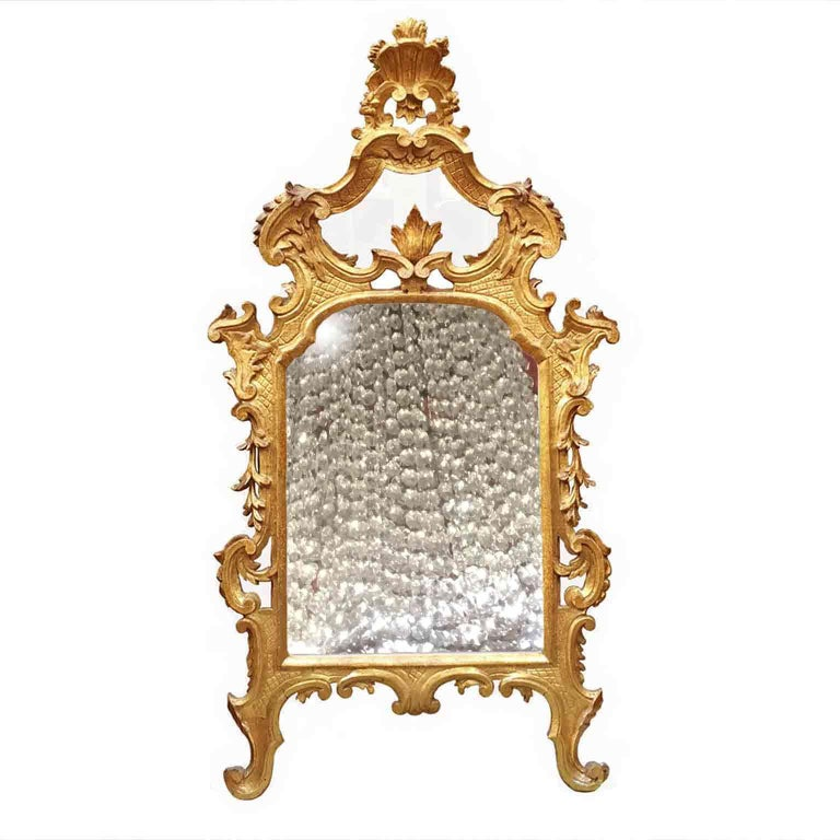 An Italian Louis XV carved and gilt wood mirror dating back to the third quarter of 18th century.  Of Tuscan origin, this antique mirror it is realized in Cembran pinewood and comes from the furnishing of a villa in Lucca and it is in overall good