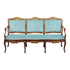 18th Century Italian Rococo Painted Canape au Chasse
