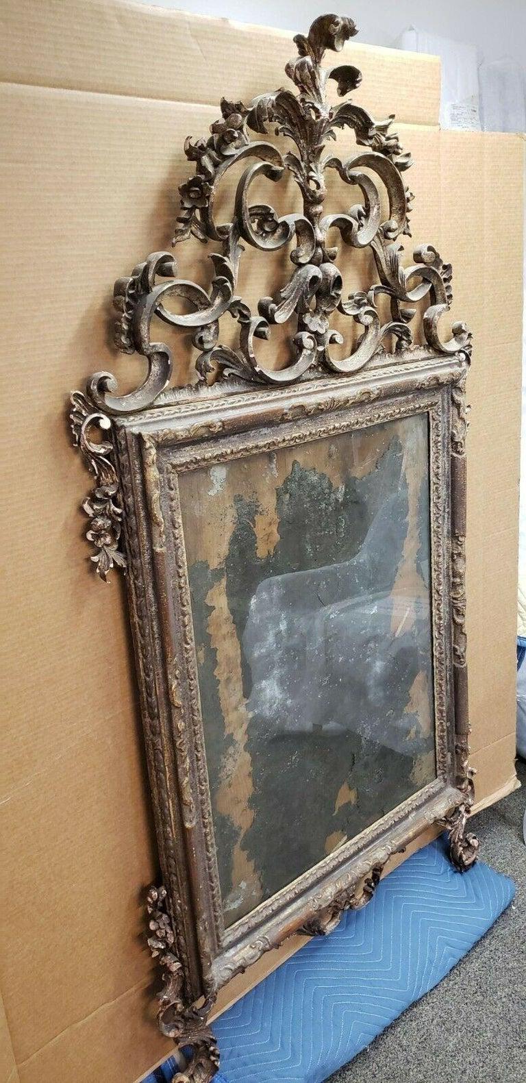 18th Century Italian Rococo Silver Gilt Mirror In Good Condition For Sale In Essex, MA
