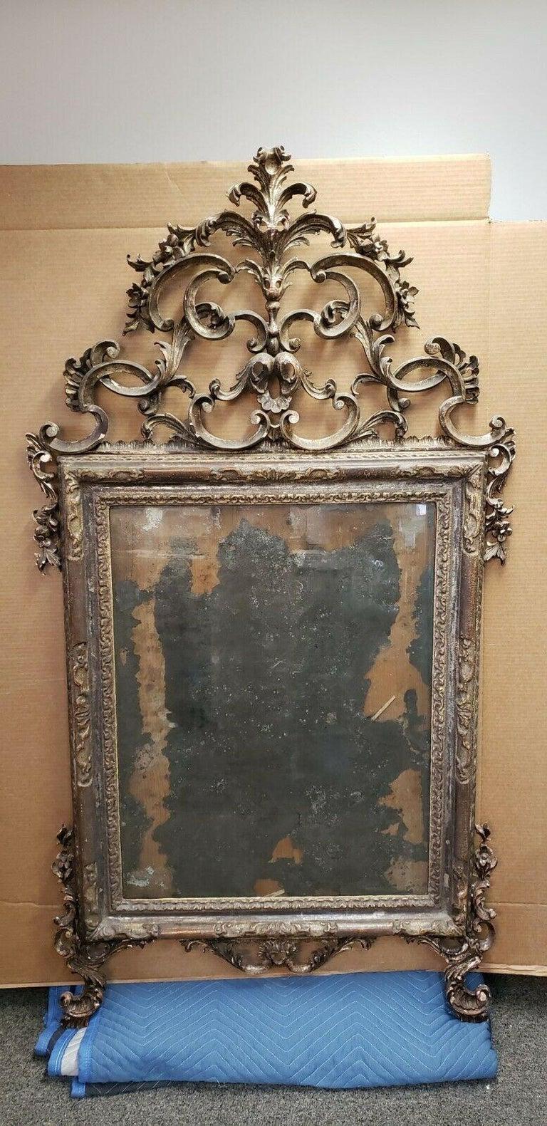 Giltwood 18th Century Italian Rococo Silver Gilt Mirror For Sale