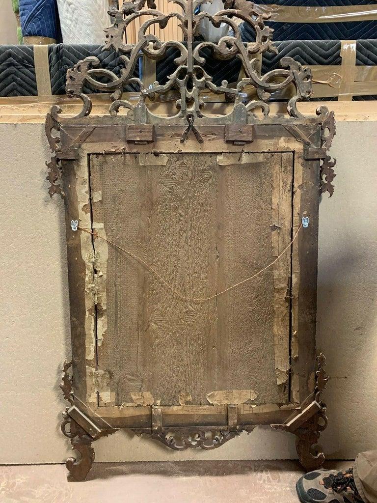 18th Century Italian Rococo Silver Gilt Mirror For Sale 1