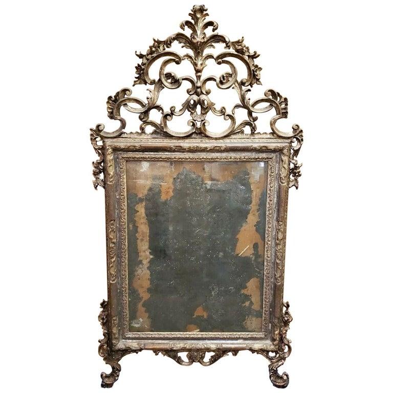 18th Century Italian Rococo Silver Gilt Mirror For Sale