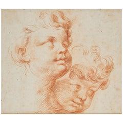 18th Century Italian School Head Study of Two Boys