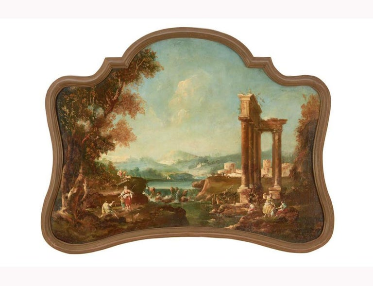 18th century Italian school oil on canvas painting. The canvas was relined on newer canvas and then mounted on a messonite board that is fitted in a uniquely shaped original giltwood frame.   The exquisite painting depicts a scene on the landscape