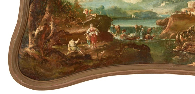 Giltwood 18th Century Italian School Oil on Canvas Painting For Sale