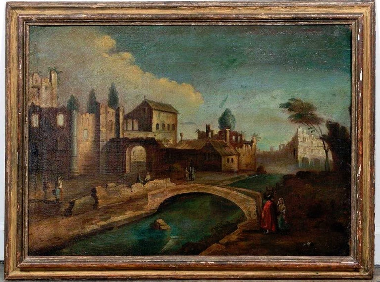 18th century Italian school old master landscape, city view, oil on linen, unsigned. Wonderful untouched condition, distressed evenly, no rips or tears. Measures: Linen canvas 25.75