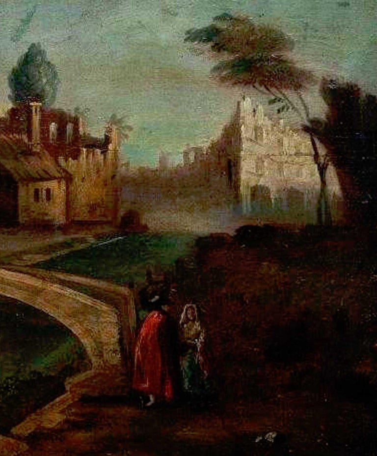 Baroque Revival 18th Century Italian School Old Master Landscape, City View For Sale