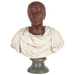 18th Century Italian Serpentine, Porphyry, and Marble Bust
