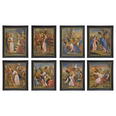 """18th Century Italian Set of Eight """"Stations of the Cross"""" Oil Paintings"""