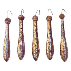 18th Century Italian Speckled Gold and Silver Leaf Carved Tassels 'Group of 5'