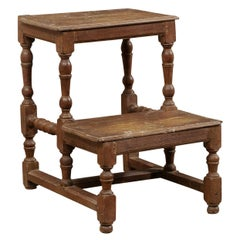 18th Century Italian Spool-Turned Walnut Wood Step Stool 'Two Steps'