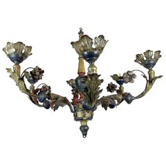 18th Century Italian Tole and Wood Chandelier Silver Blue Red Candleholder