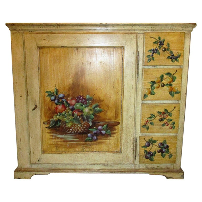18th Century Italian Trompe L'oeil Painted Cupboard For Sale