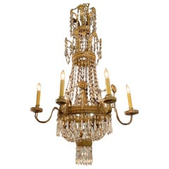 18th Century Italian Tuscan Beaded Crystal and Tole Chandelier