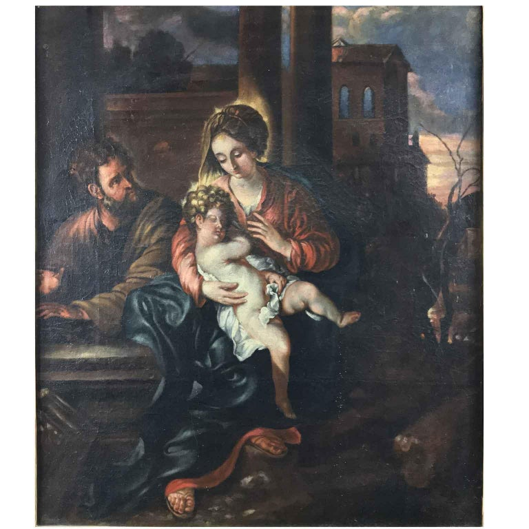 A lovely Italian painting depicting Madonna Virgin with Child surrounded by Saint Joseph and an evening landscape with architectural elements. 