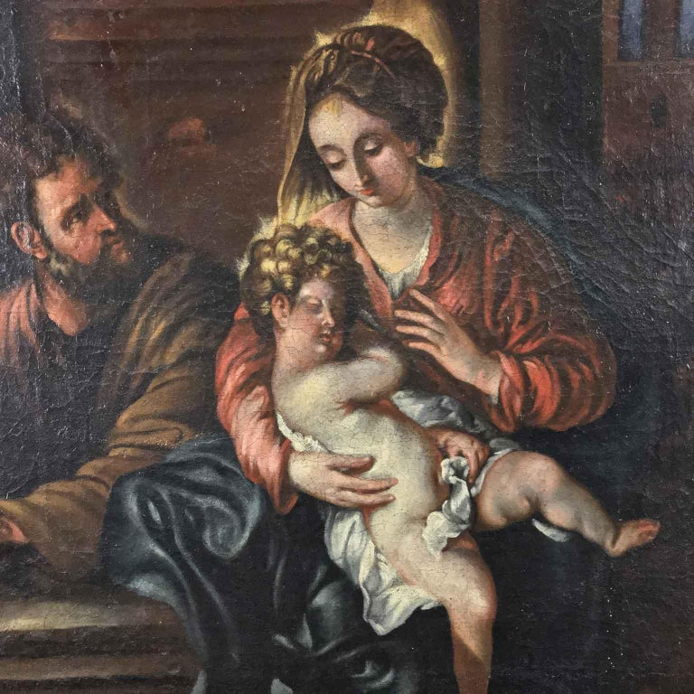 Hand-Painted 18th Century Italian Virgin Mary with Child after Baroque Genoese School For Sale