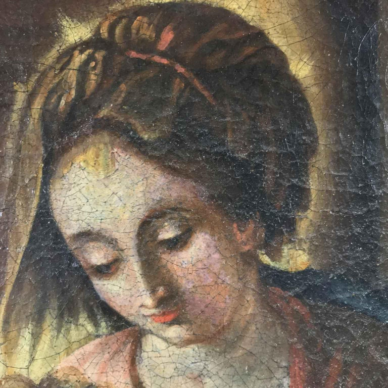 18th Century Italian Virgin Mary with Child after Baroque Genoese School In Good Condition For Sale In Milan, IT