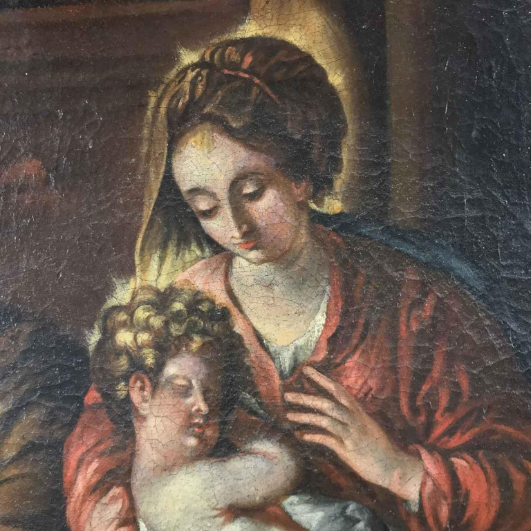 18th Century Italian Virgin Mary with Child after Baroque Genoese School For Sale 3