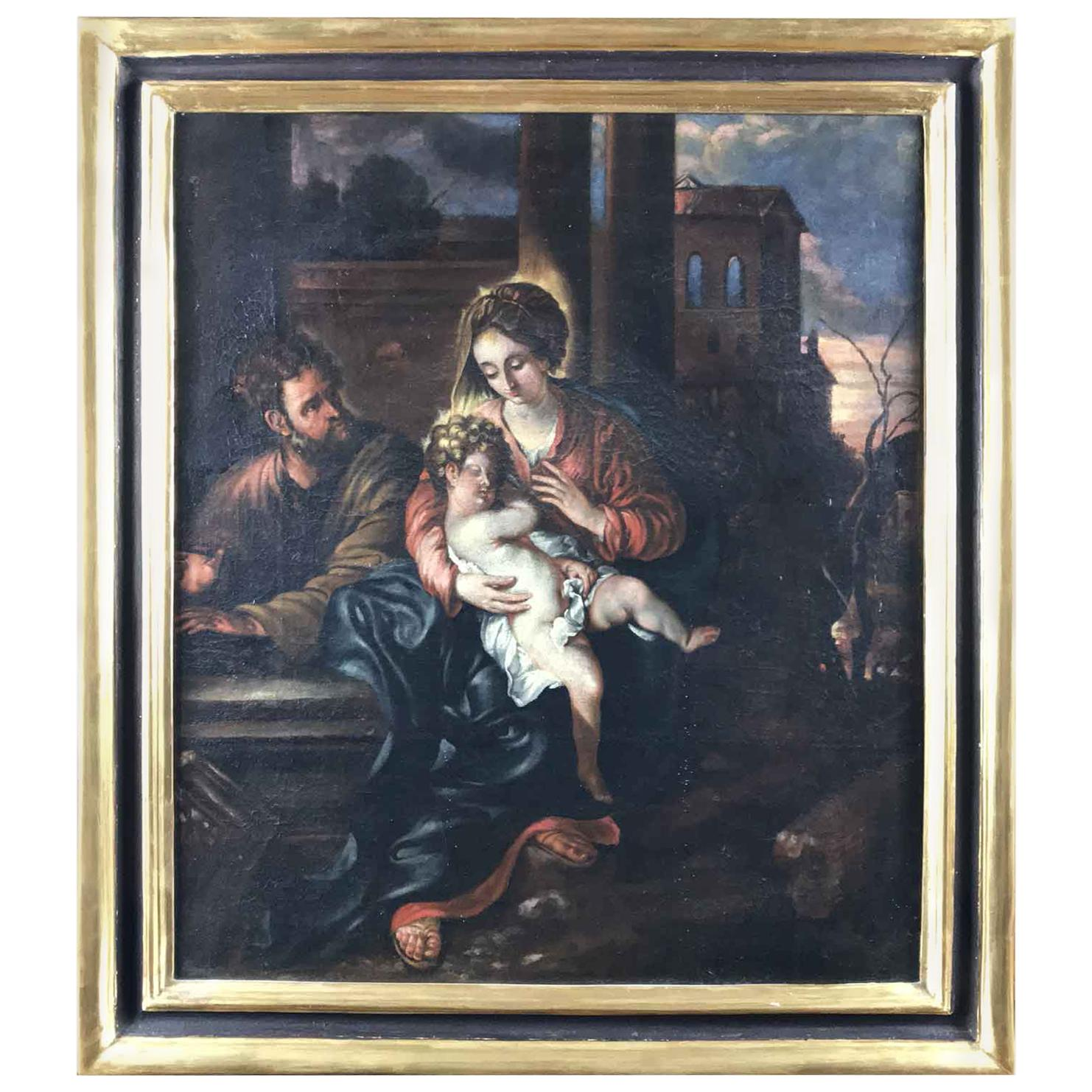 18th Century Italian Virgin Mary with Child after Baroque Genoese School