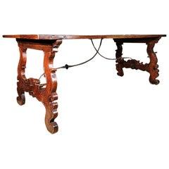 18th Century Italian Walnut and Iron Trestle Table