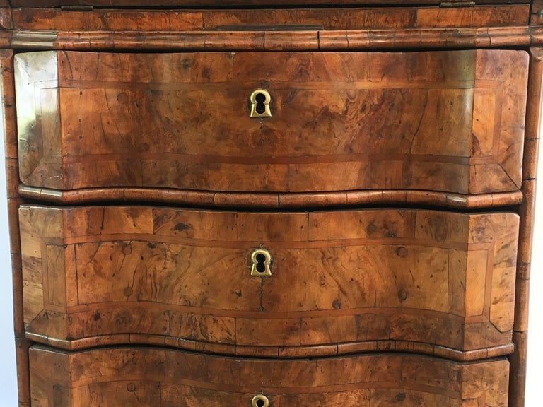 18th Century Italian Walnut Burl Veneer Small Three