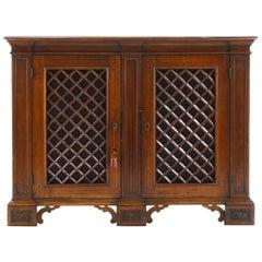 18th Century Italian Walnut Cabinet with Lattice Work Doors