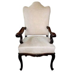 18th Century Italian Walnut Chair Grand Scale