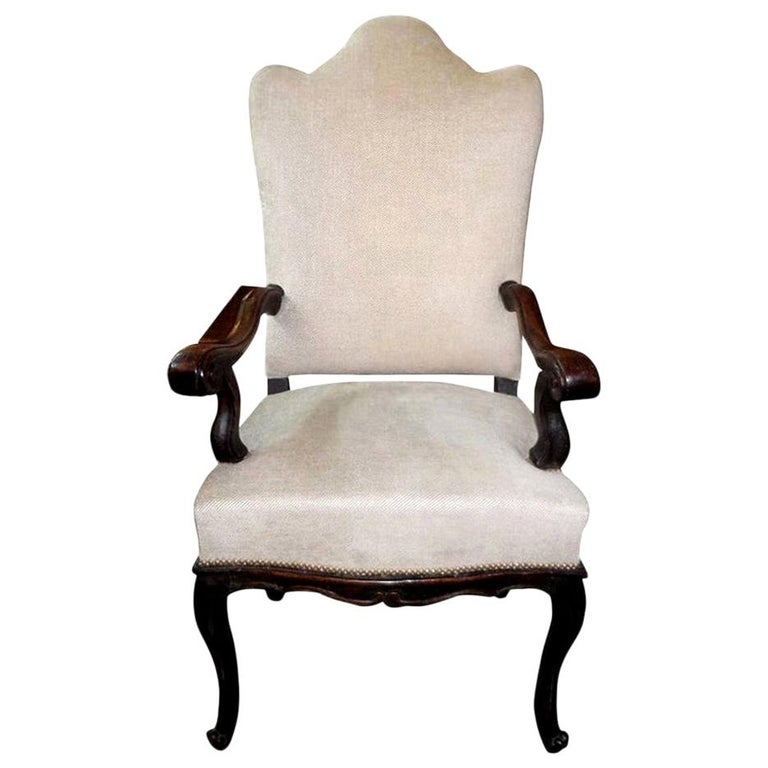 18th Century Italian Walnut Chair Grand Scale For Sale
