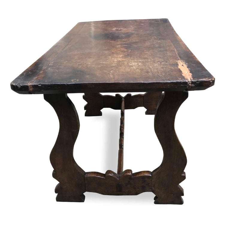 Carved 18th Century Italian Walnut Fratino Table with Renaissance style Lyre Legs For Sale