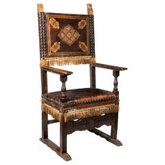 A 19th Century Italian Walnut Leather Upholstered and Studded Cardinals Chair