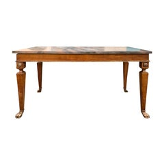 18th Century Italian Walnut Marble Top Console with Paw Feet and Sunflower Motif