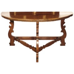 18th Century Italian Walnut Wood Demi Lune Console Table